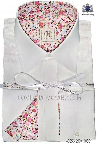 White Cotton Shirt with pink liberty cuff 40056-2104-1038 Ottavio Nuccio Gala.