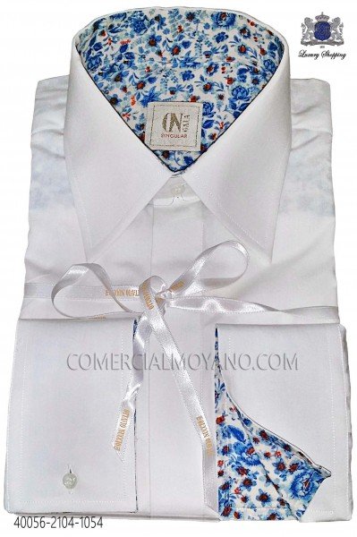 White Cotton Shirt with blue liberty cuff 40056-2104-1054 Ottavio Nuccio Gala.