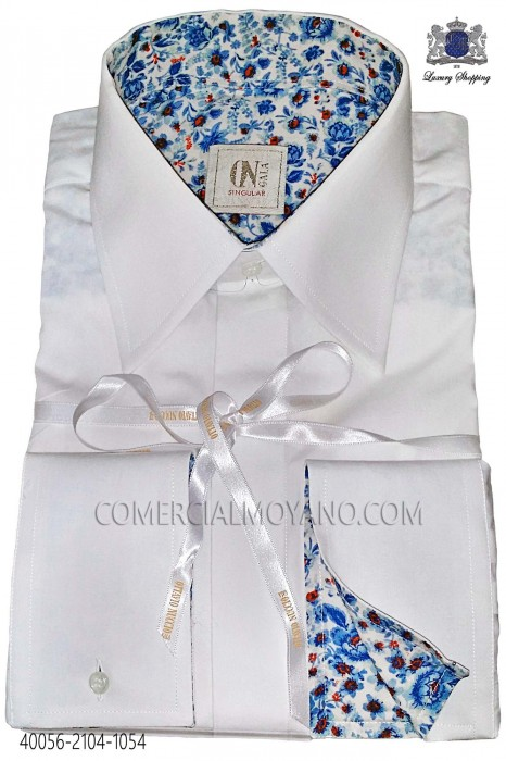 White Cotton Shirt with blue liberty cuff 40056-2104-1054 Ottavio Nuccio Gala.