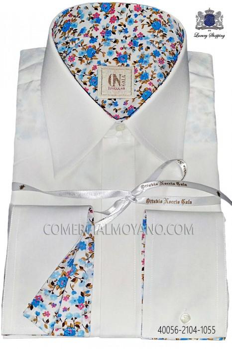 White cotton shirt with sky blue liberty cuff 40056-2104-1055 Ottavio Nuccio Gala.