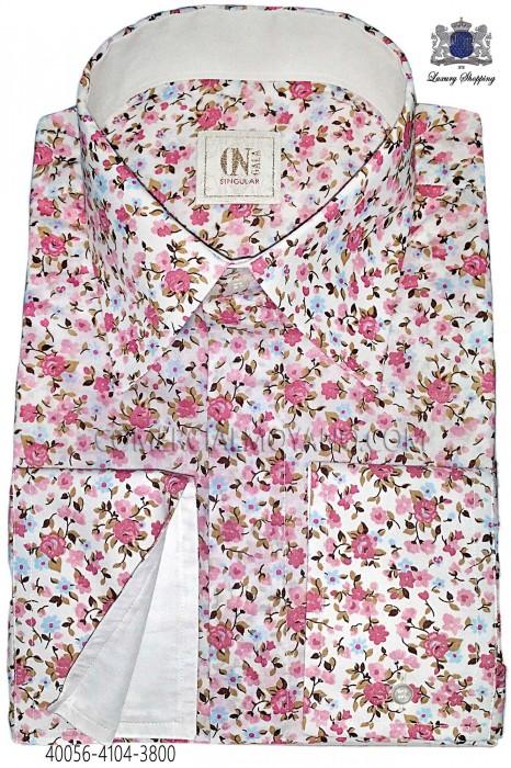 Pink liberty shirt with white cuff 40056-4104-3800 Ottavio Nuccio Gala.