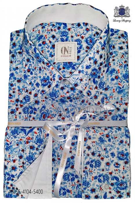 Sky blue liberty shirt 40056-4104-5400 Ottavio Nuccio Gala.