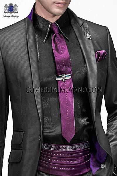 Black cotton shirt with studs 40058-2645-8070 Ottavio Nuccio Gala.
