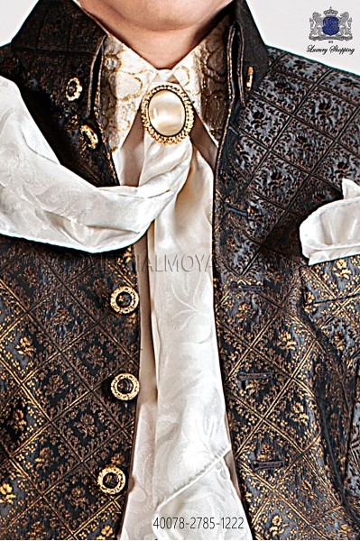 Ivory jacquard shirt with gold lace 40078-2785-1222 Ottavio Nuccio Gala.