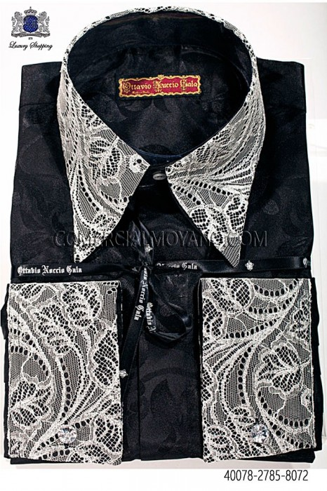 Black shirt floral jacquard 40078-2785-8072 Ottavio Nuccio Gala.