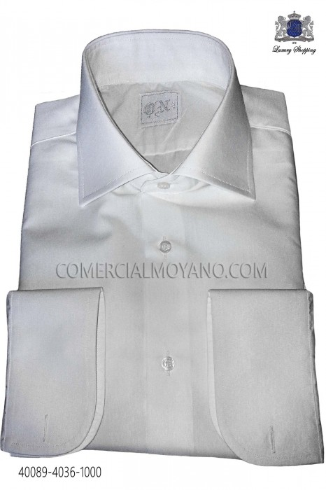 Classic white plain men wedding shirt 40089-4036-1000 Ottavio Nuccio Gala.
