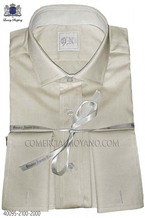 Beige cotton poplin shirt 40095-2100-2000 Ottavio Nuccio Gala.
