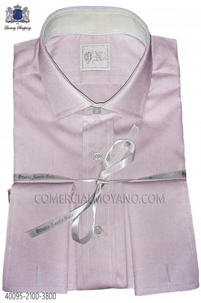 Orange plain cotton shirt 40095-2100-3800 Ottavio Nuccio Gala.