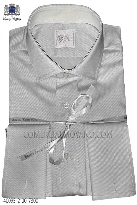 Pearl gray cotton poplin shirt 40095-2100-7300 Ottavio Nuccio Gala.