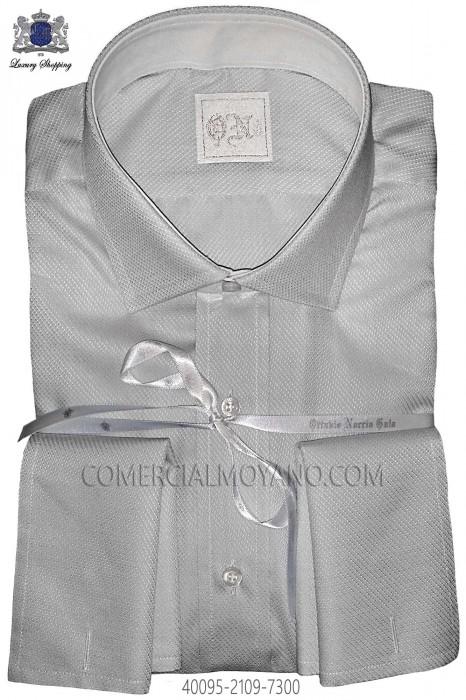 Pearl gray plain cotton shirt 40095-2109-7300 Ottavio Nuccio Gala.