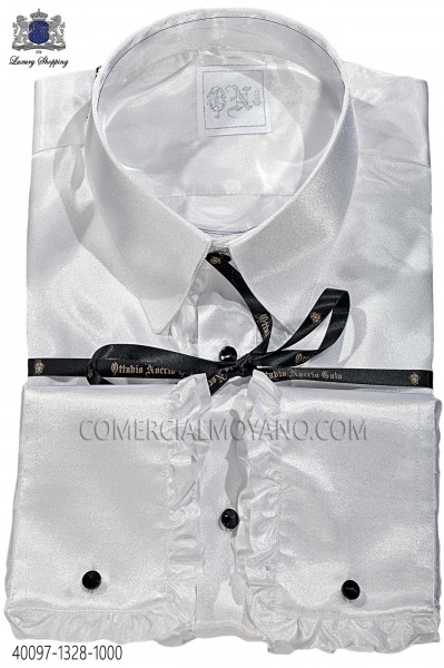 White satin shirt with ruffles