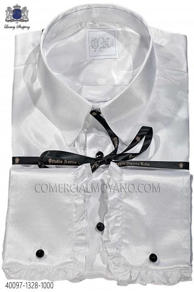 White satin shirt with ruffles