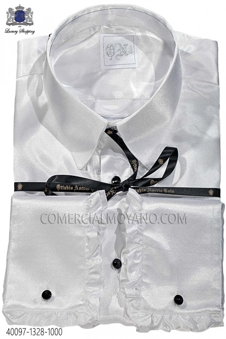 White satin shirt with ruffles 40097-1328-1000 Ottavio Nuccio Gala.