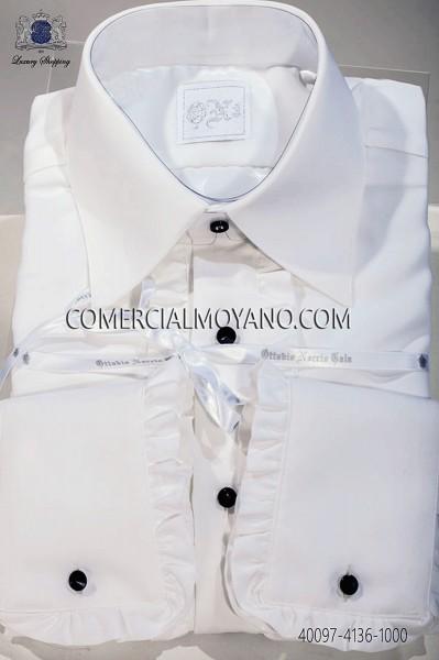 Camisa blanca algodón de volantes 40097-4136-1000 Ottavio Nuccio Gala.