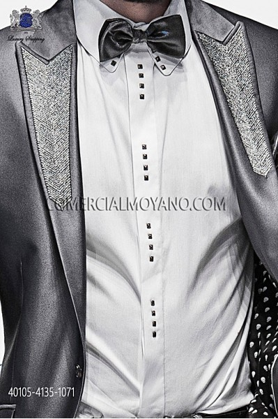 White cotton shirt with studs 40105-4135-1071 Ottavio Nuccio Gala.