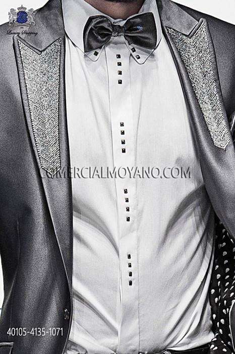 White cotton shirt with studs 40105-4135-1071 Ottavio Nuccio Gala.