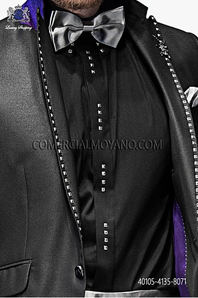 Black cotton shirt with studs 40105-4135-8071 Ottavio Nuccio Gala.