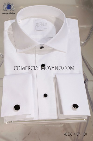 White otoman cotton shirt 40235-4137-1180 Ottavio Nuccio Gala.