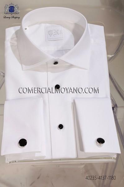 White otoman cotton shirt 40235-4137-1180 Ottavio Nuccio Gala.