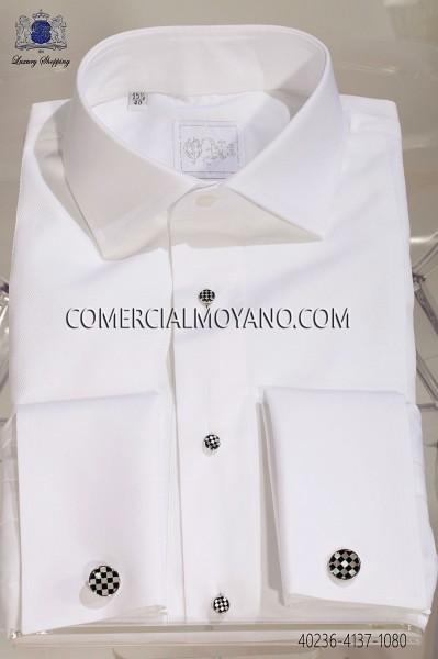 White pique bib shirt 40236-4137-1080 Ottavio Nuccio Gala.