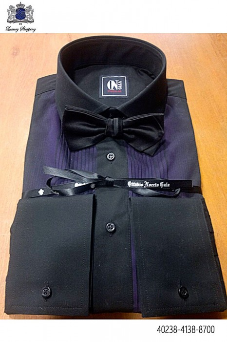 Black pleated bib shirt 40238-4138-8700 Ottavio Nuccio Gala.