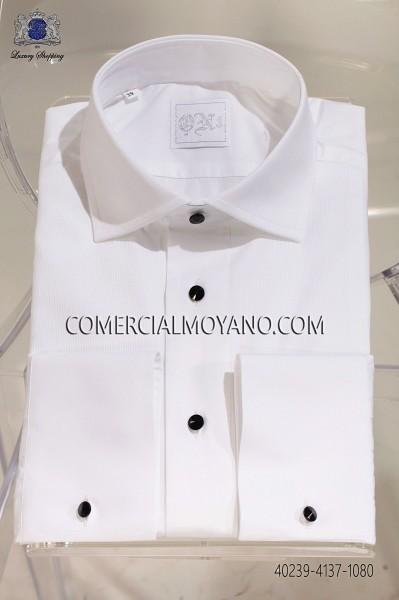 White pique shirt 40239-4137-1080 Ottavio Nuccio Gala.