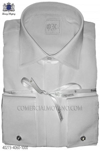 White microfiber shirt 40273-4060-1000 Ottavio Nuccio Gala.
