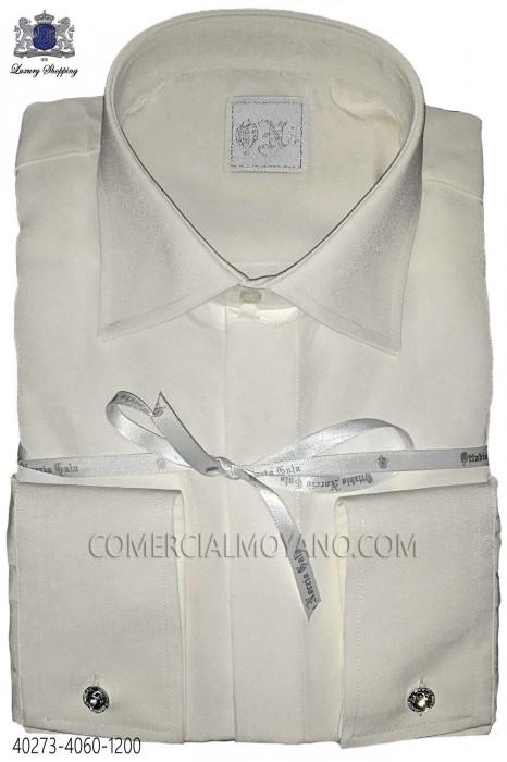 Ecru microfiber shirt 40273-4060-1200 Ottavio Nuccio Gala.