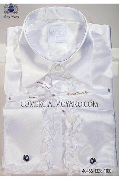 Camisa blanca raso de volantes 40466-1328-1100 Ottavio Nuccio Gala.