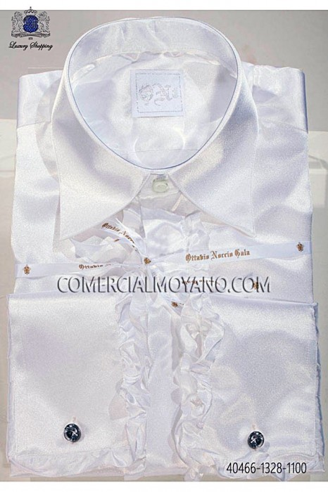 White satin shirt with ruffles 40466-1328-1100 Ottavio Nuccio Gala.
