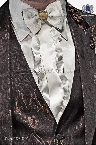 Ivory satin shirt with ruffles 40466-1328-1200 Ottavio Nuccio Gala.