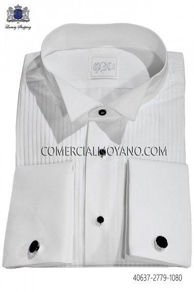 Camisa plisada blanca cuello diplomático 40637-2779-1080 Ottavio Nuccio Gala.