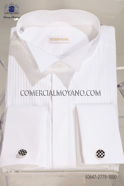 White pleated bib wing collar 40647-2779-1000 Ottavio Nuccio Gala.