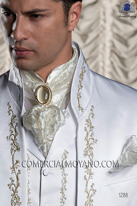 Ivory satin shirt with Beethoven collar 40036-1328-1200 Ottavio Nuccio Gala.
