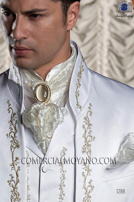 Ivory satin shirt with Beethoven collar 40036-1328-1200 Ottavio Nuccio Gala.