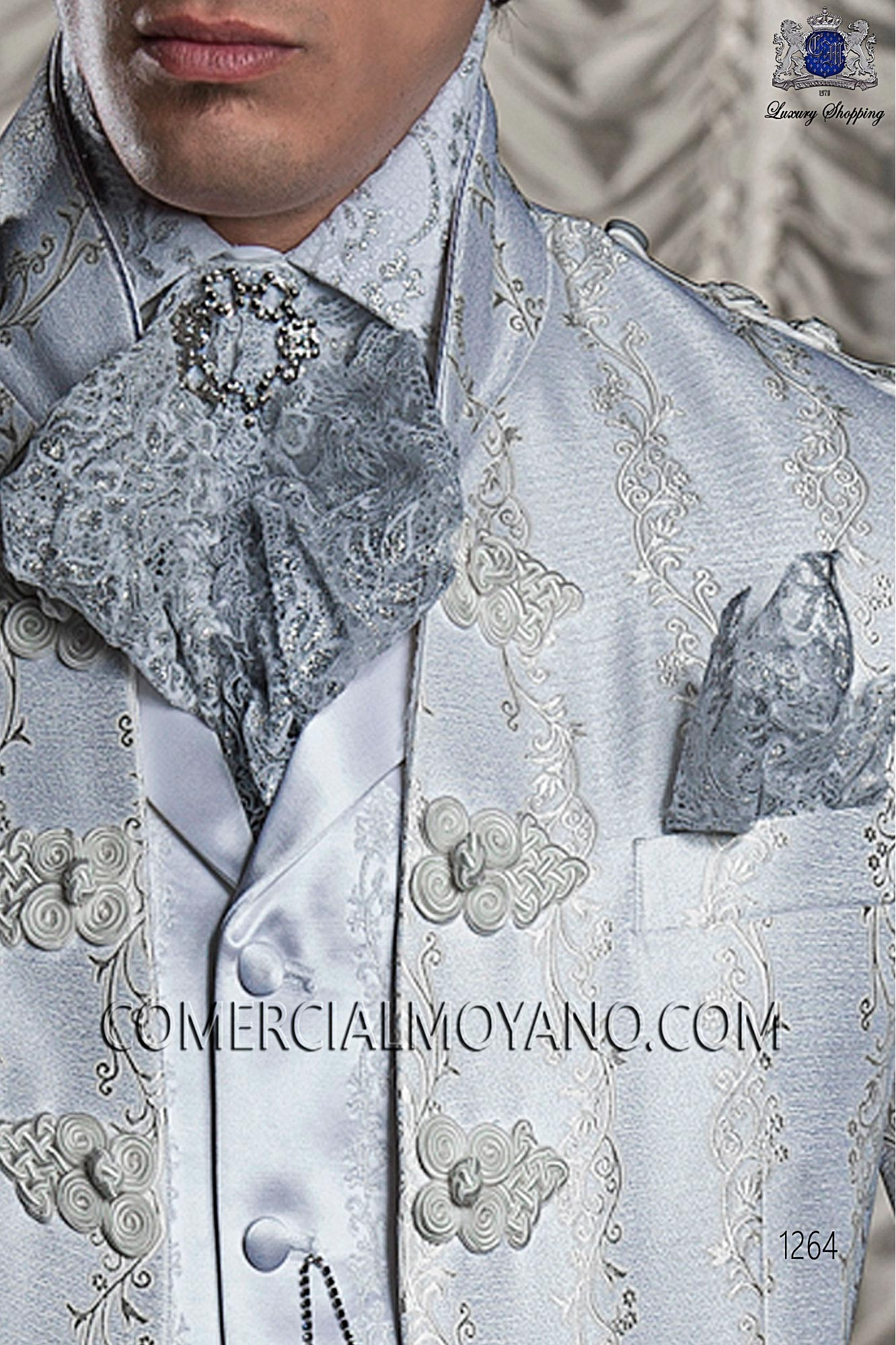 White jacquard shirt with silver lace, baroque collection Ottavio ...