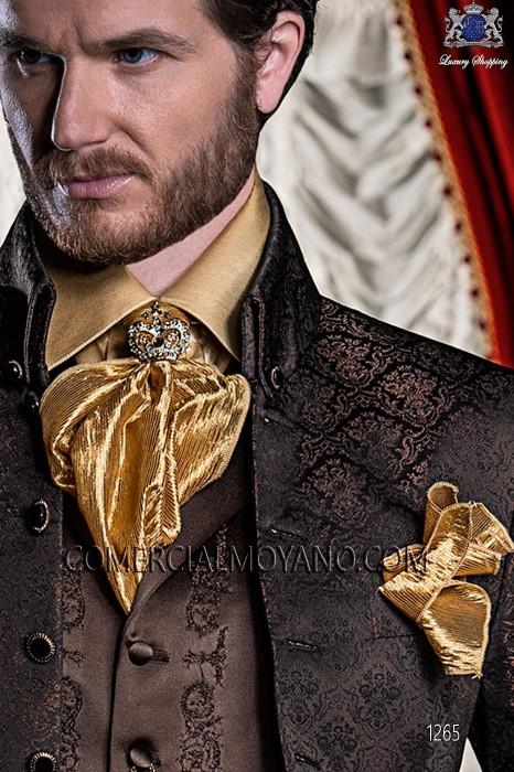 Gold satin ruffled shirt 40466-1328-2200 Ottavio Nuccio Gala.