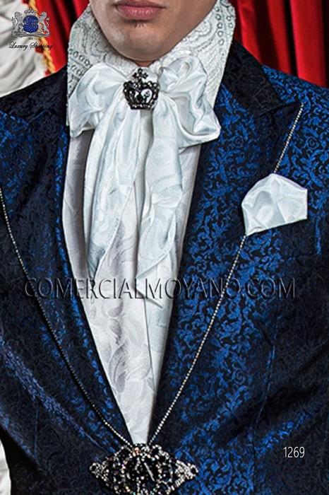 White jacquard shirt with silver lace 40078-2785-1070 Ottavio Nuccio Gala.