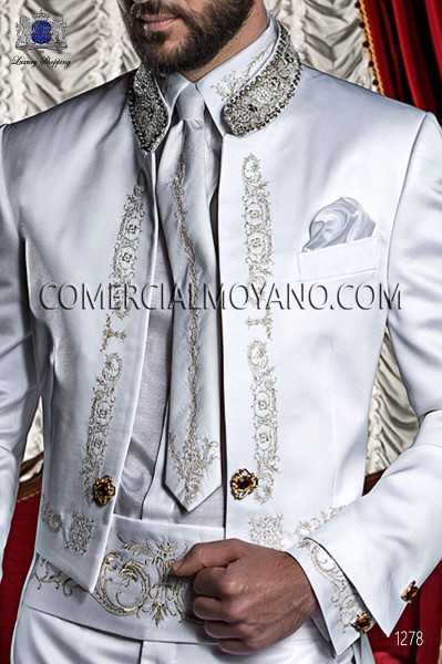 White lurex shirt and accesories with gold embroidery 50332-2645-1023 Ottavio Nuccio Gala.