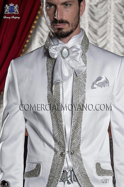 White satin shirt with Beethoven collar 40036-1328-1000 Ottavio Nuccio Gala.