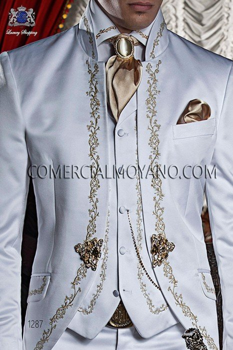 White satin shirt with gold floral embroidery 40053-4060-1023 Ottavio Nuccio Gala.