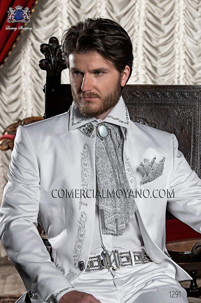 White satin shirt with silver floral embroidery 40053-4060-1073 Ottavio Nuccio Gala.