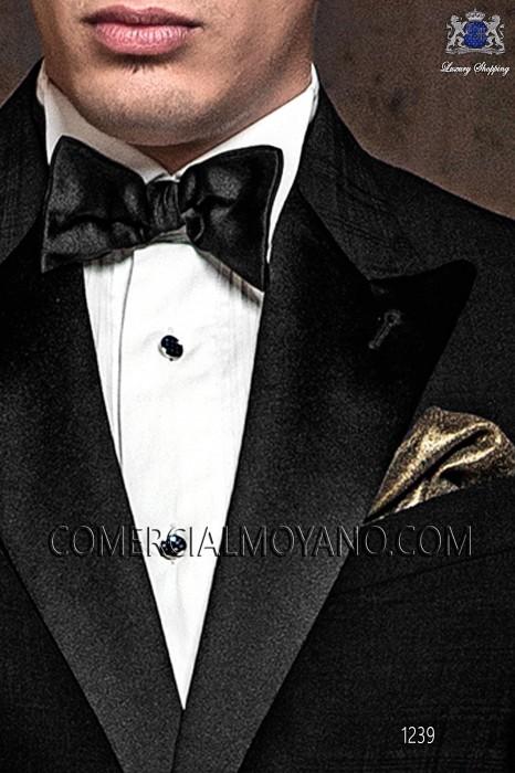 White pleated bib shirt with black/white checkers cufflinks 40637-2779-1075 Ottavio Nuccio Gala.