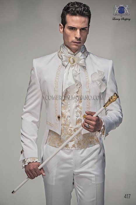 Baroque italian white satin wedding suit