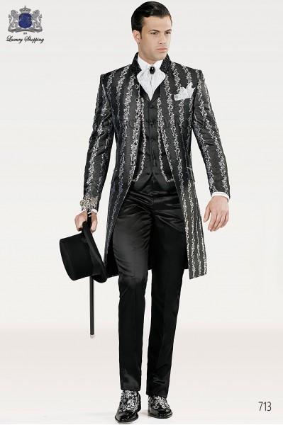 Italian black-silver wedding suit
