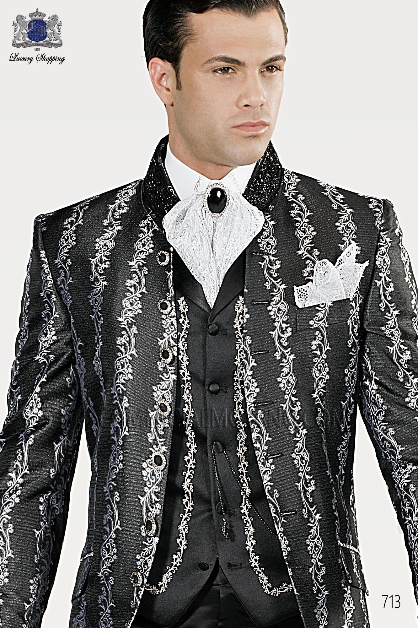 Traje barroco de novio plata-negro modelo: 713 Ottavio Nuccio Gala colección Barroco