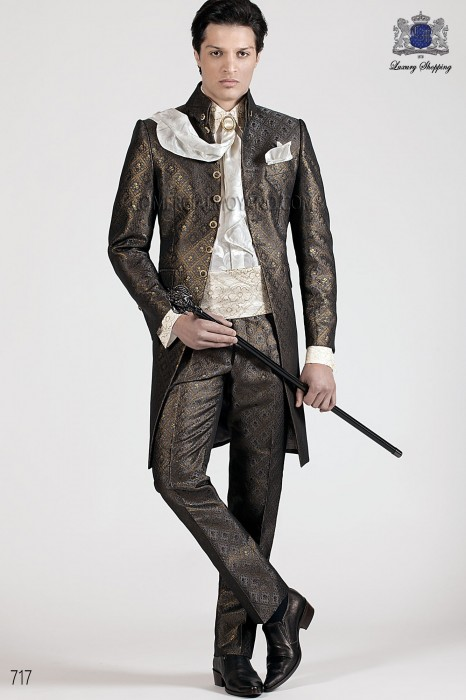 Italian black-gold wedding suit