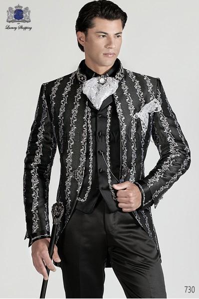 Italian black and silver baroque wedding suit