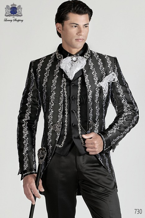 Italian black and silver baroque wedding suit