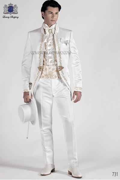 Italian white baroque wedding suit